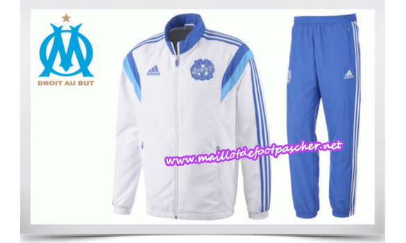 maillots-fr: Survetement de foot OM BLANC 2014/2015