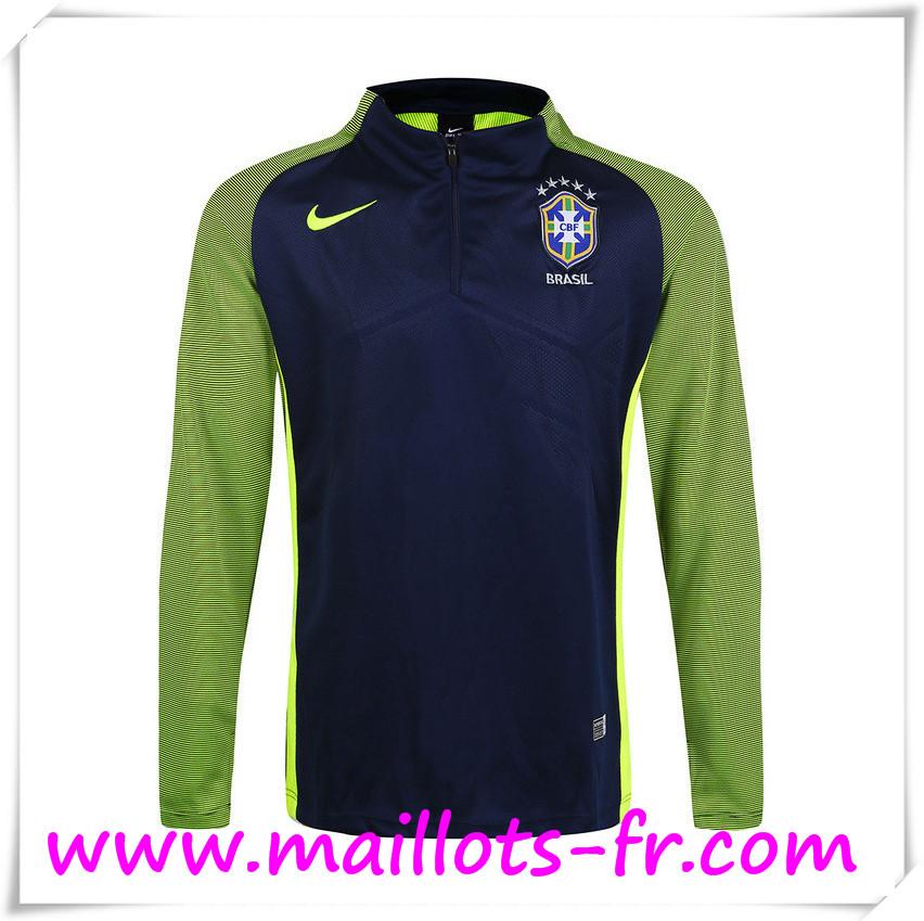 c317e42a08 maillots-fr Sweatshirt Training Bresil Noir/Vert 16 17 pas chere ...