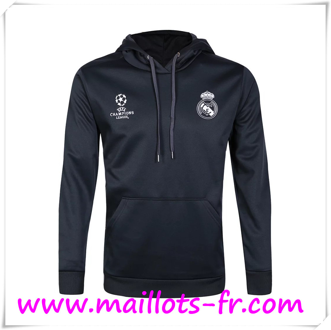 maillots-fr Champions Sweat à Capuche Training Real Madrid Noir 2016 2017