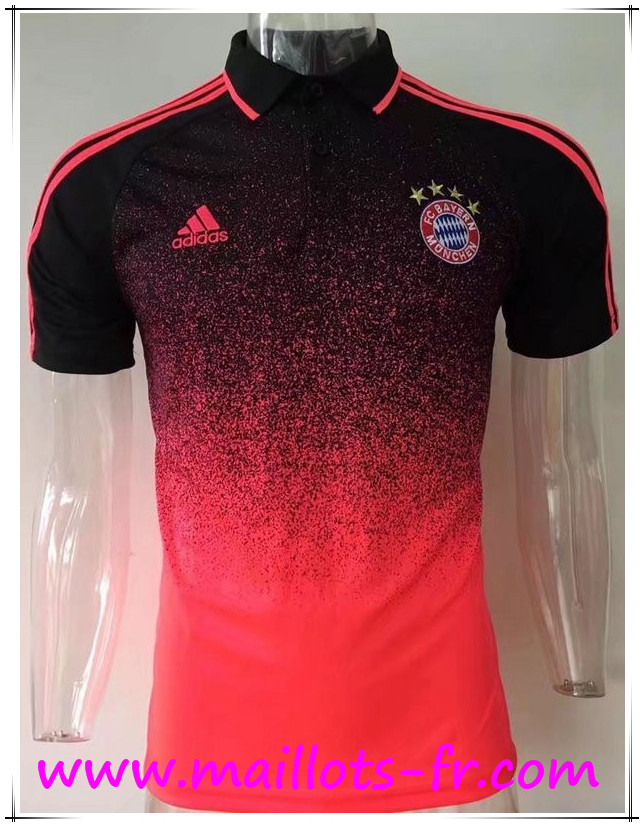 maillots-fr Polo Bayern Munich Orange/Noir 2017 2018