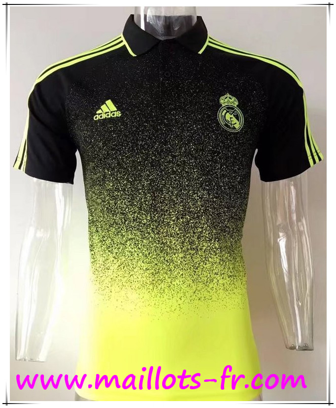 maillots-fr Polo Real Madrid Jaune/Noir 2017 2018