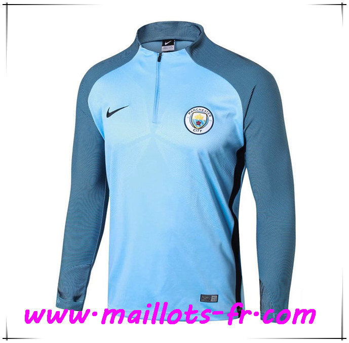 Maillots-fr Thailande Sweatshirt Training Manchester City Bleu Strike Drill 2017/2018