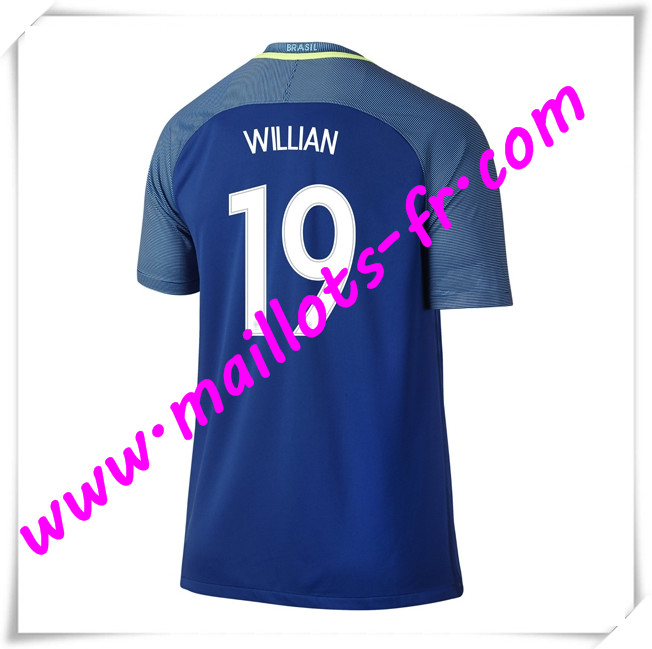 maillots-fr Maillots Equipe De Bresil (WILLIAN 19) 2016 2017 Exterieur