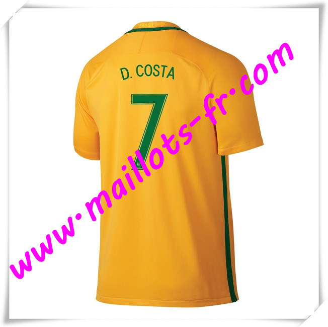 maillots-fr Maillots Equipe De Bresil (D.COSTA 7) 2016 2017 Domicile