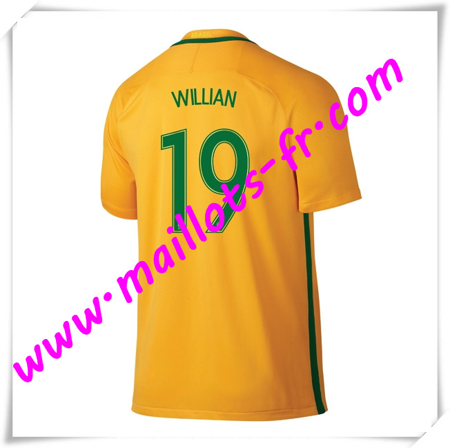 maillots-fr Maillots Equipe De Bresil (WILLIAN 19) 2016 2017 Domicile