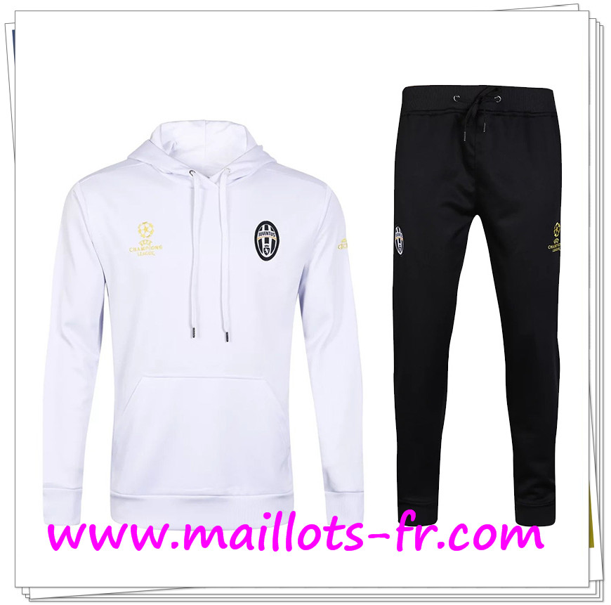 maillots-fr Sweat a Capuche Survetement de foot Juventus Blanc 2016/2017 Ensemble