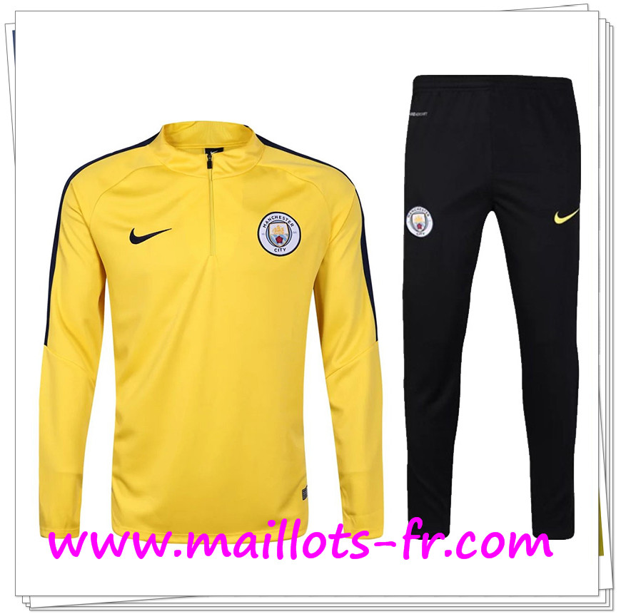 maillots-fr Survetement de foot Manchester City Jaune 2016/2017 Ensemble