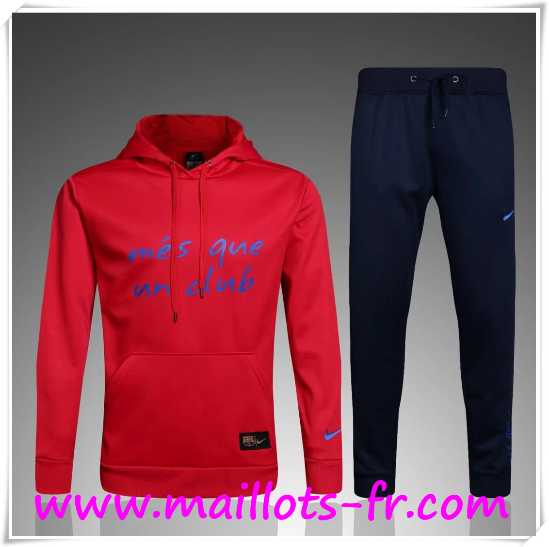 Nouveau Sweat Capuche Survetement FC Barcelone Rouge 2016/2017 Ensemble
