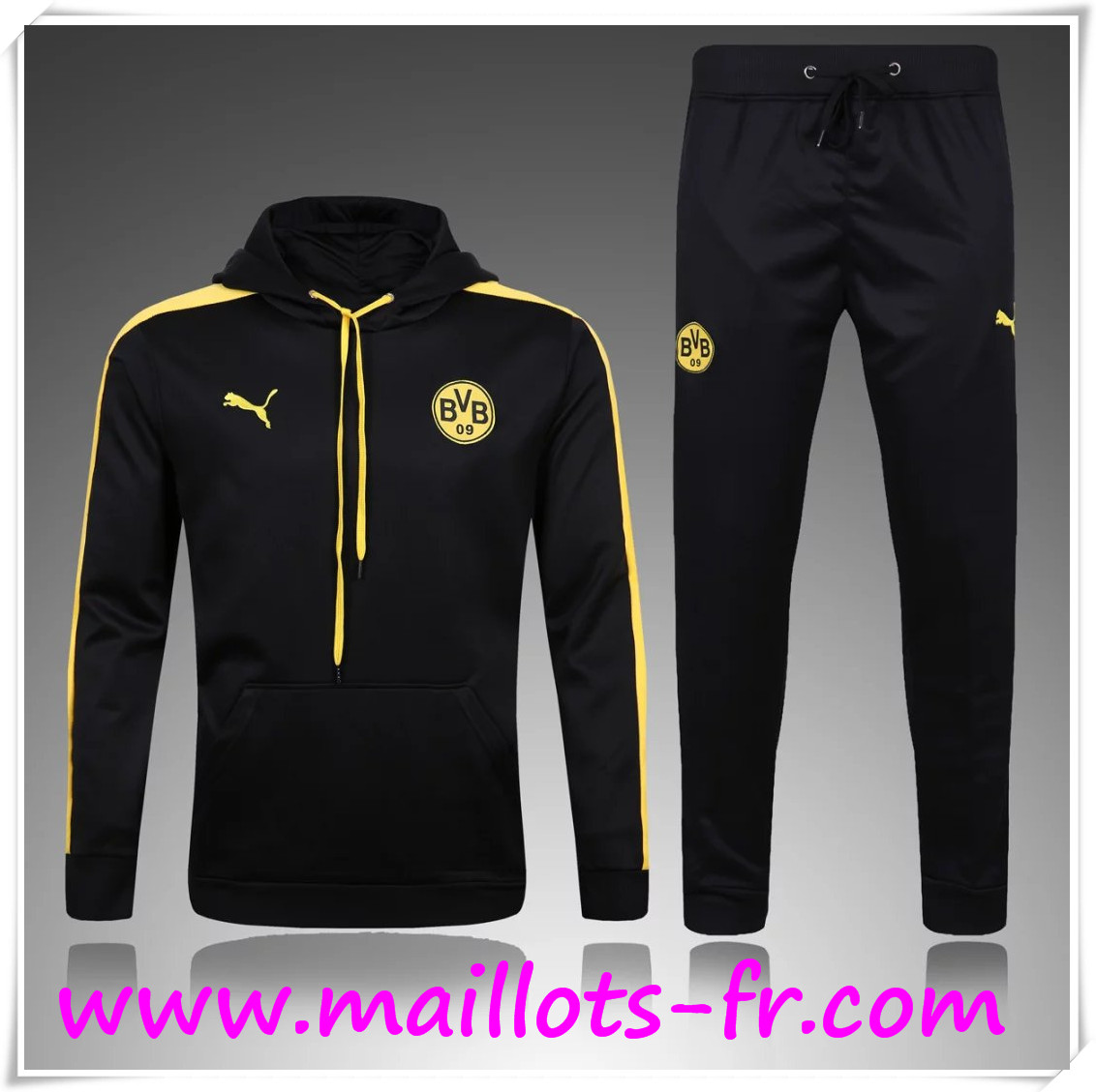 maillots-fr Sweat Capuche Survetement Dortmund BVB Noir 2016 2017 Ensemble