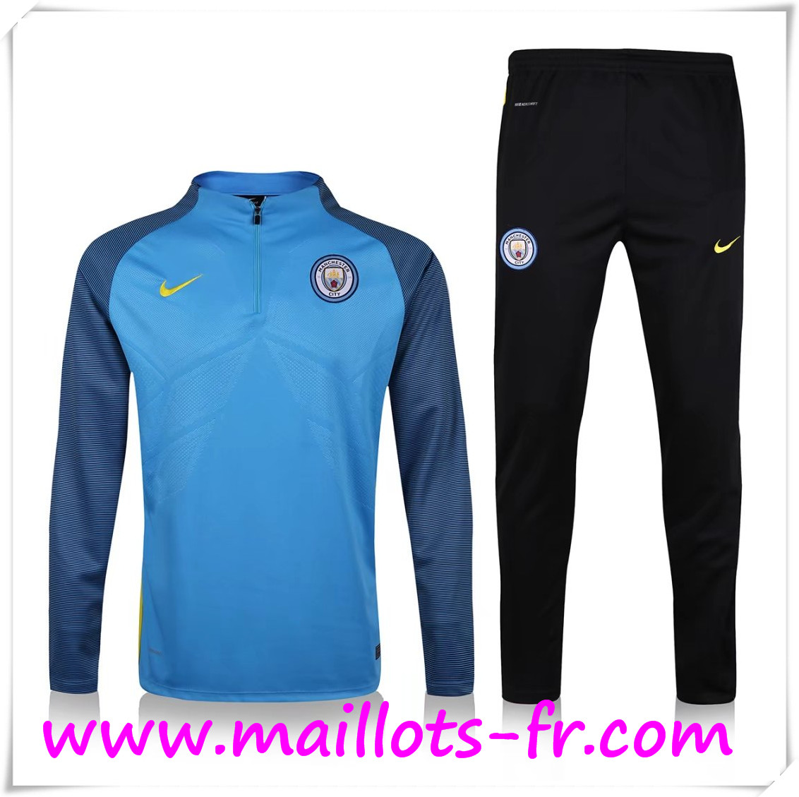 maillots-fr Survetement de Foot Manchester City Blue 2016 2017 Ensemble