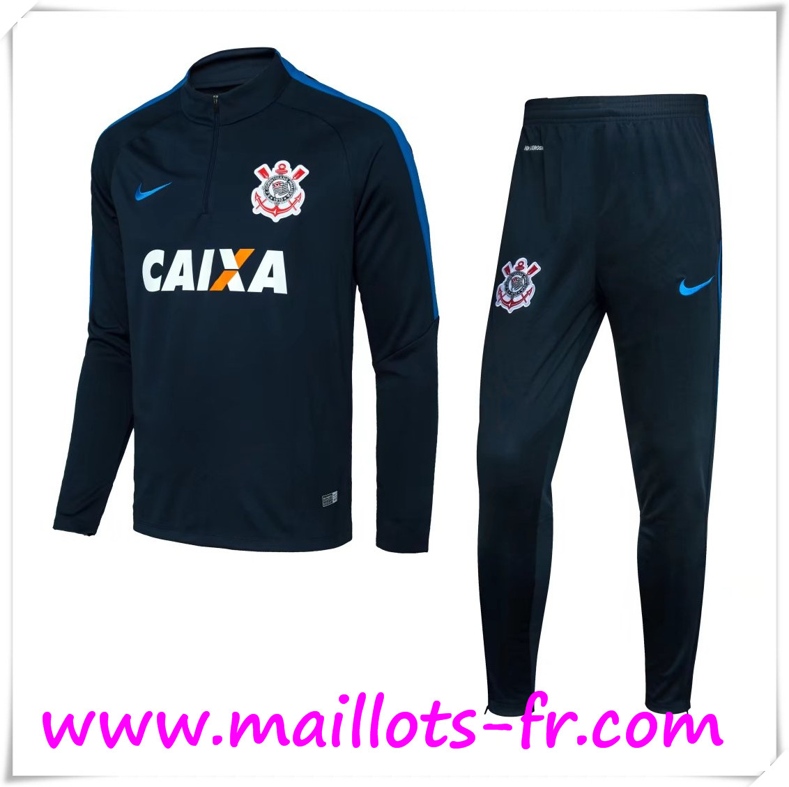 maillots-fr Survetement de Foot Corinthians Noir 2016 2017 Ensemble