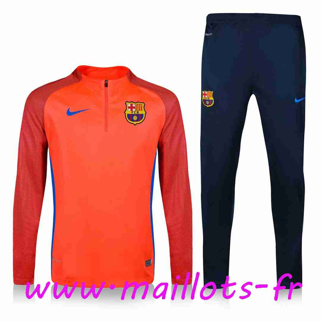 maillots-fr - Survetement de foot FC Barcelone Orange Printing 2016 2017