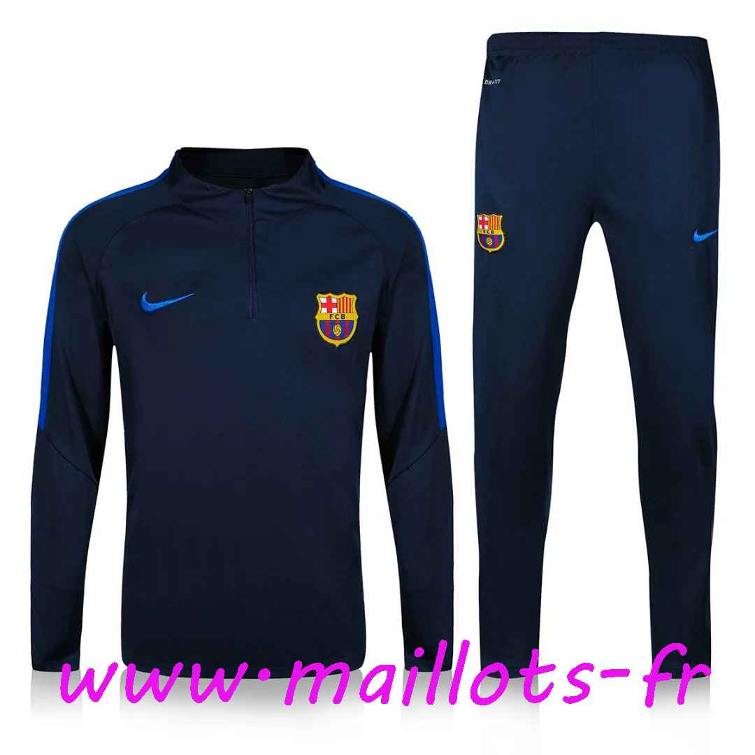 maillots-fr - Survetement de foot FC Barcelone Bleu Marine 2016 2017