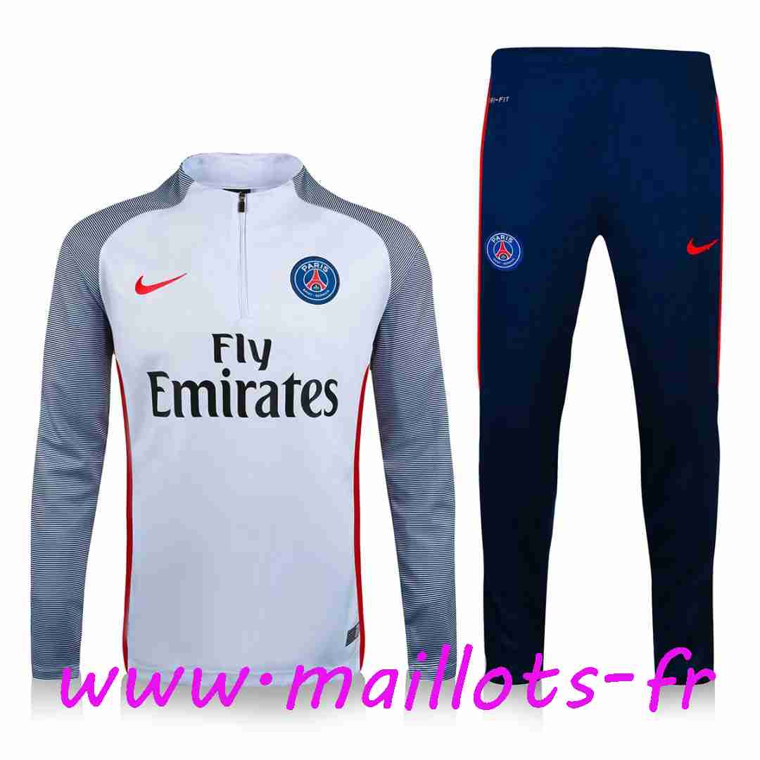 maillots-fr - Survetement de foot Paris PSG Blanc Printing 2016 2017