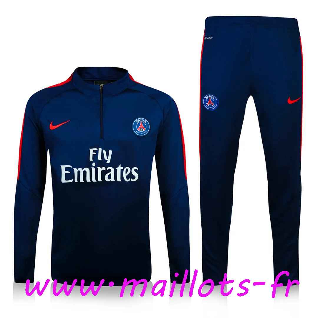 maillots-fr - Survetement de foot Paris PSG Bleu Marine 2016 2017