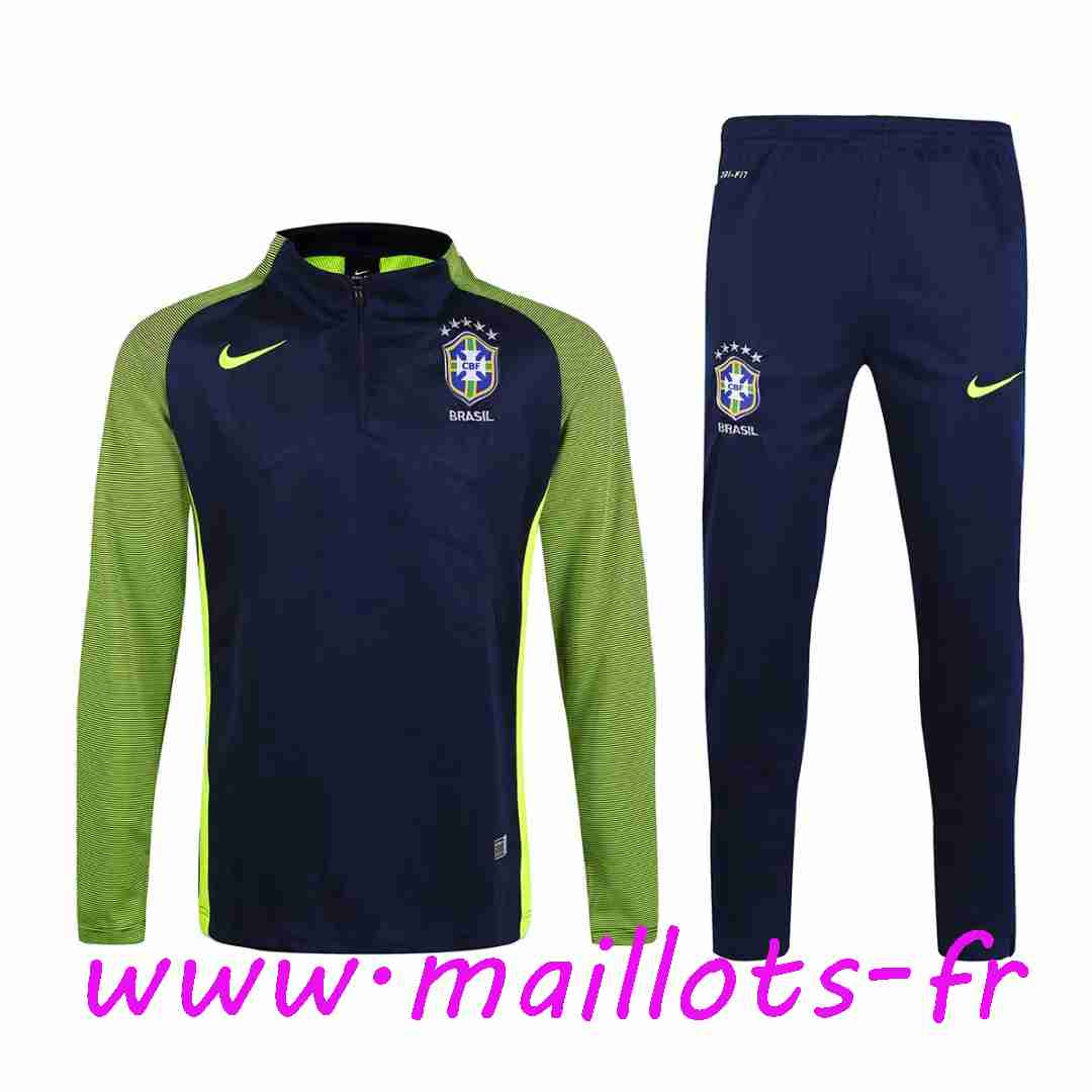 maillots-fr - Survetement de foot Bresil Noir Printing 2016 2017