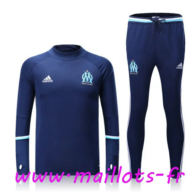 maillots-fr - Survetement de foot Marseille OM Bleu Marine 2016 2017