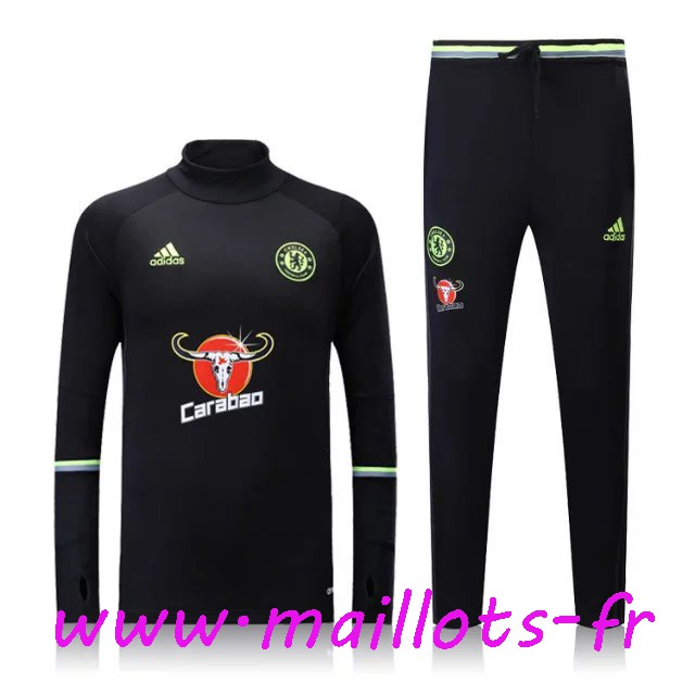 maillots-fr - Survetement de foot FC Chelsea Noir 2016 2017