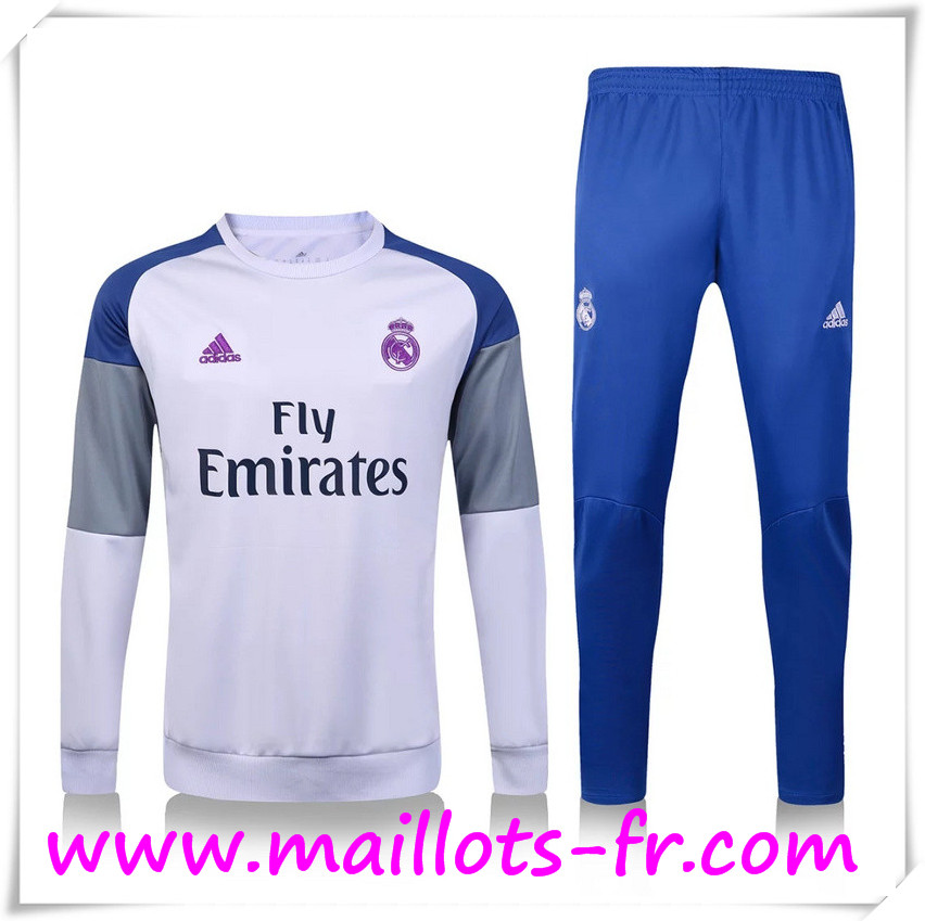 maillots-fr: Nouveau Survetement de foot Real Madrid Blanc + Pantalon Bleu 2016 2017 Ensemble