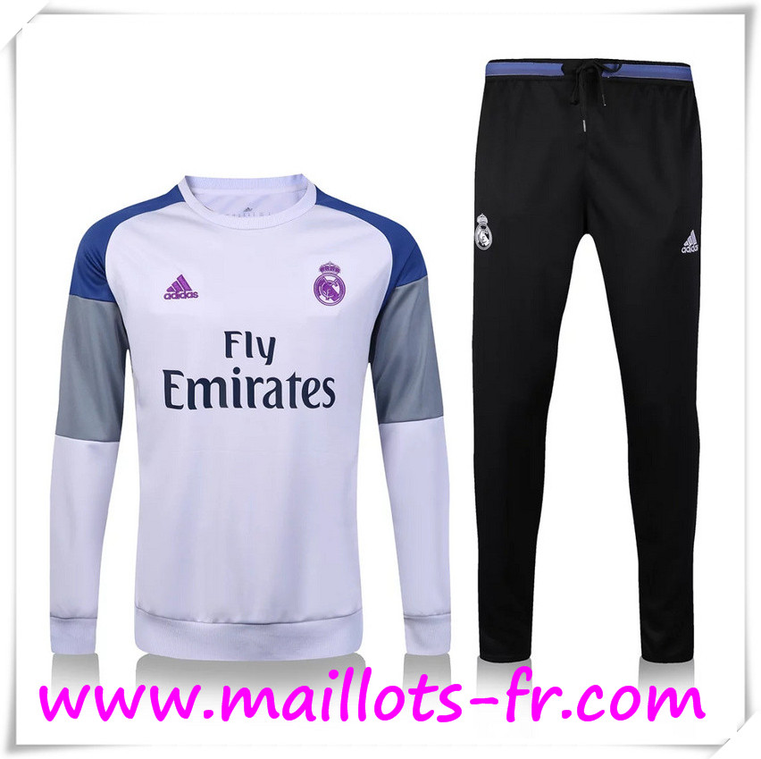 maillots-fr: Nouveau Survetement de foot Real Madrid Blanc + Pantalon Noir 2016 2017 Ensemble