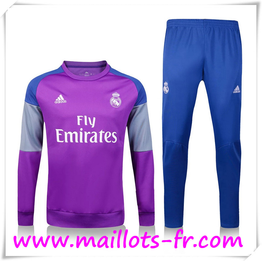 maillots-fr: Nouveau Survetement de foot Real Madrid Pourpre + Pantalon Bleu 2016 2017 Ensemble