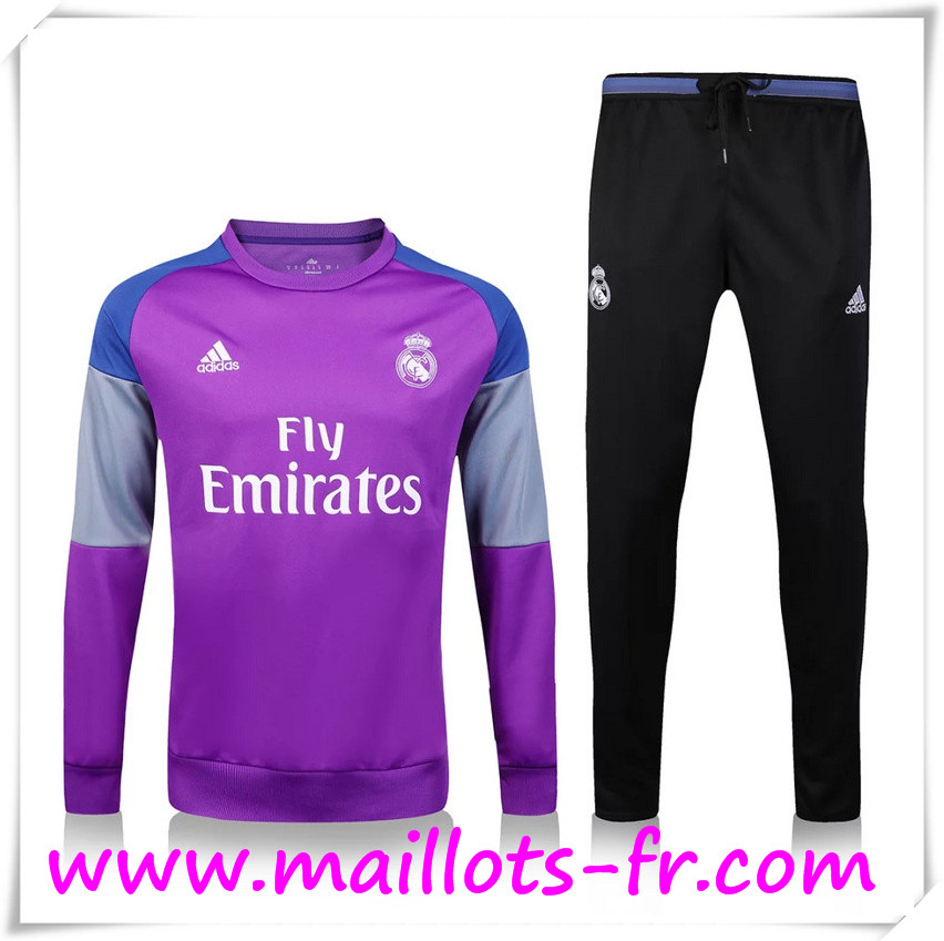 maillots-fr: Nouveau Survetement de foot Real Madrid Pourpre + Pantalon Noir 2016 2017 Ensemble