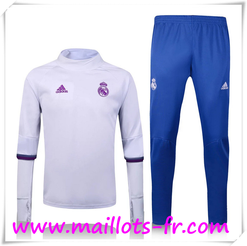 maillots-fr: Nouveau Survetement de foot Real Madrid Collar Blanc + Pantalon Bleu 2016 2017 Ensemble