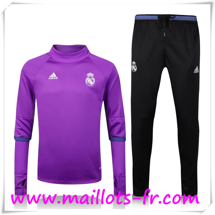 maillots-fr: Nouveau Survetement de foot Real Madrid Collar Pourpre + Pantalon Noir 2016 2017 Ensemble