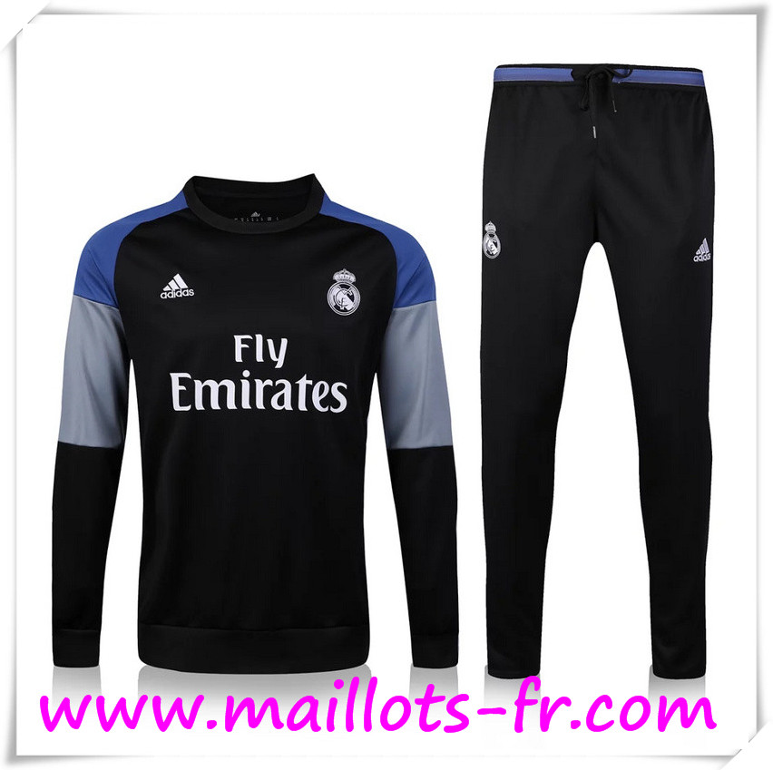 maillots-fr: Nouveau Survetement de foot Real Madrid Noir 2016 2017 Ensemble