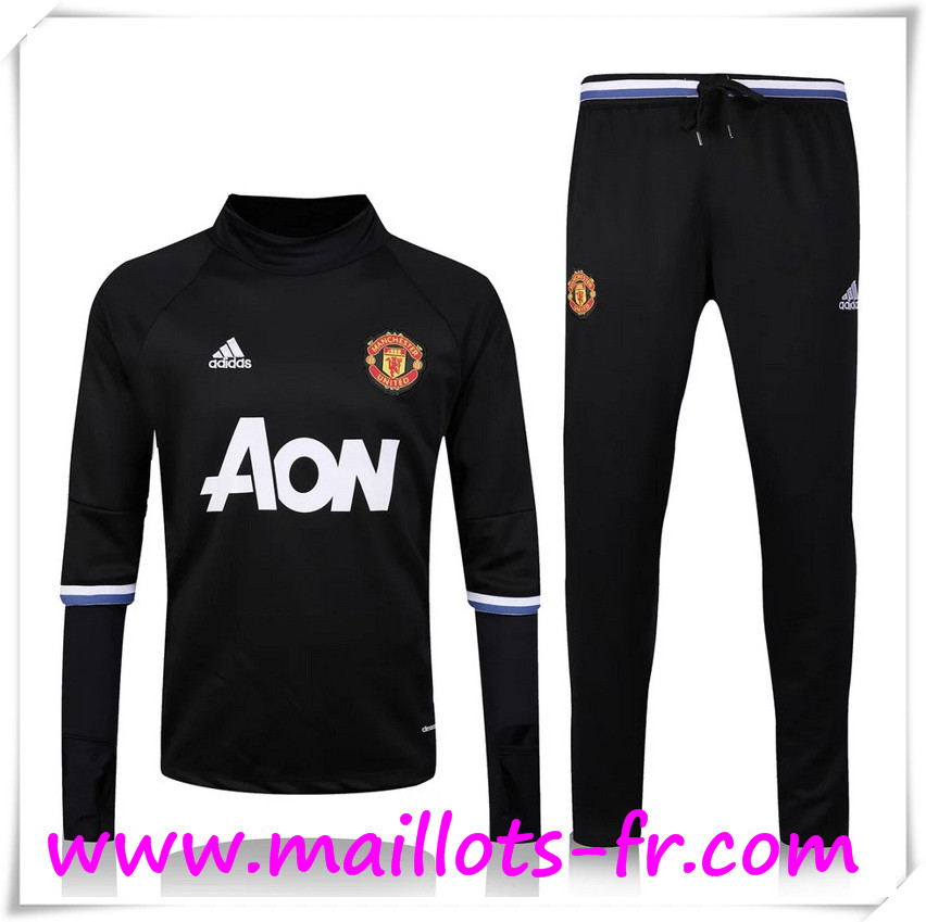 maillots-fr: Nouveau Survetement de foot Manchester United Noir 2016 2017 Ensemble