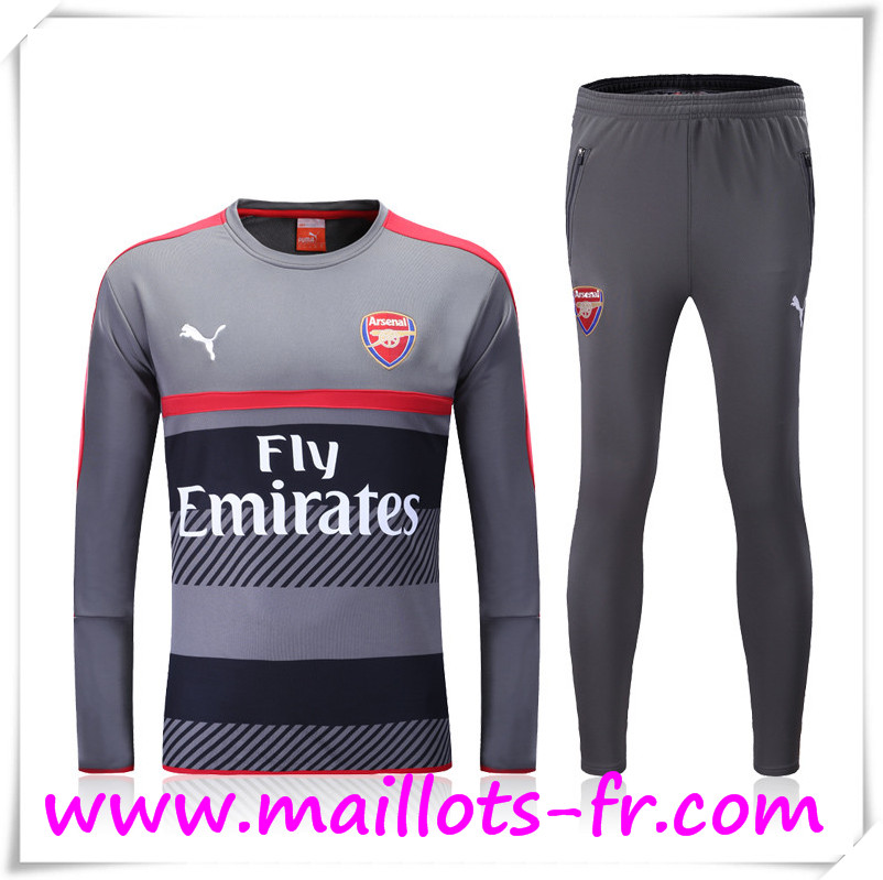maillots-fr: Nouveau Survetement de foot Arsenal Gris/Noir/Rouge 2016 2017 Ensemble