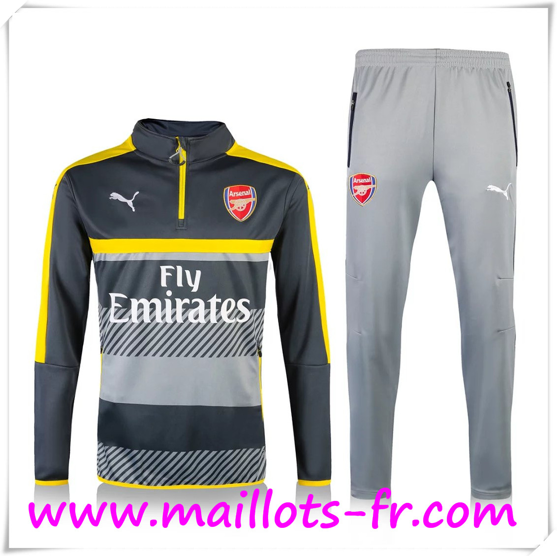maillots-fr: Nouveau Survetement de foot Arsenal Noir/Gris 2016 2017 Ensemble