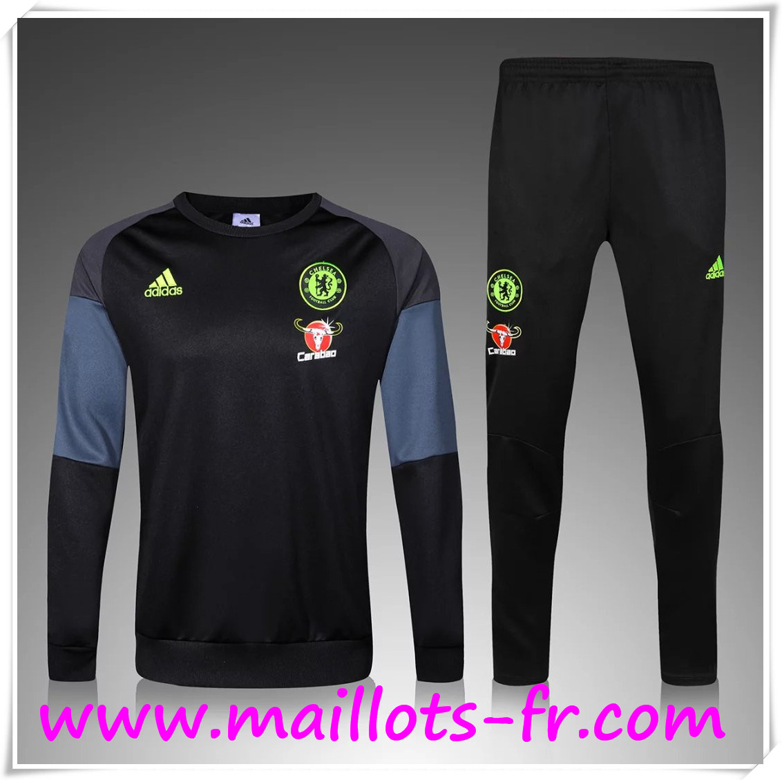 maillots fr Nouveau Survetement de foot FC Chelsea Noir 2016 2017 Ensemble