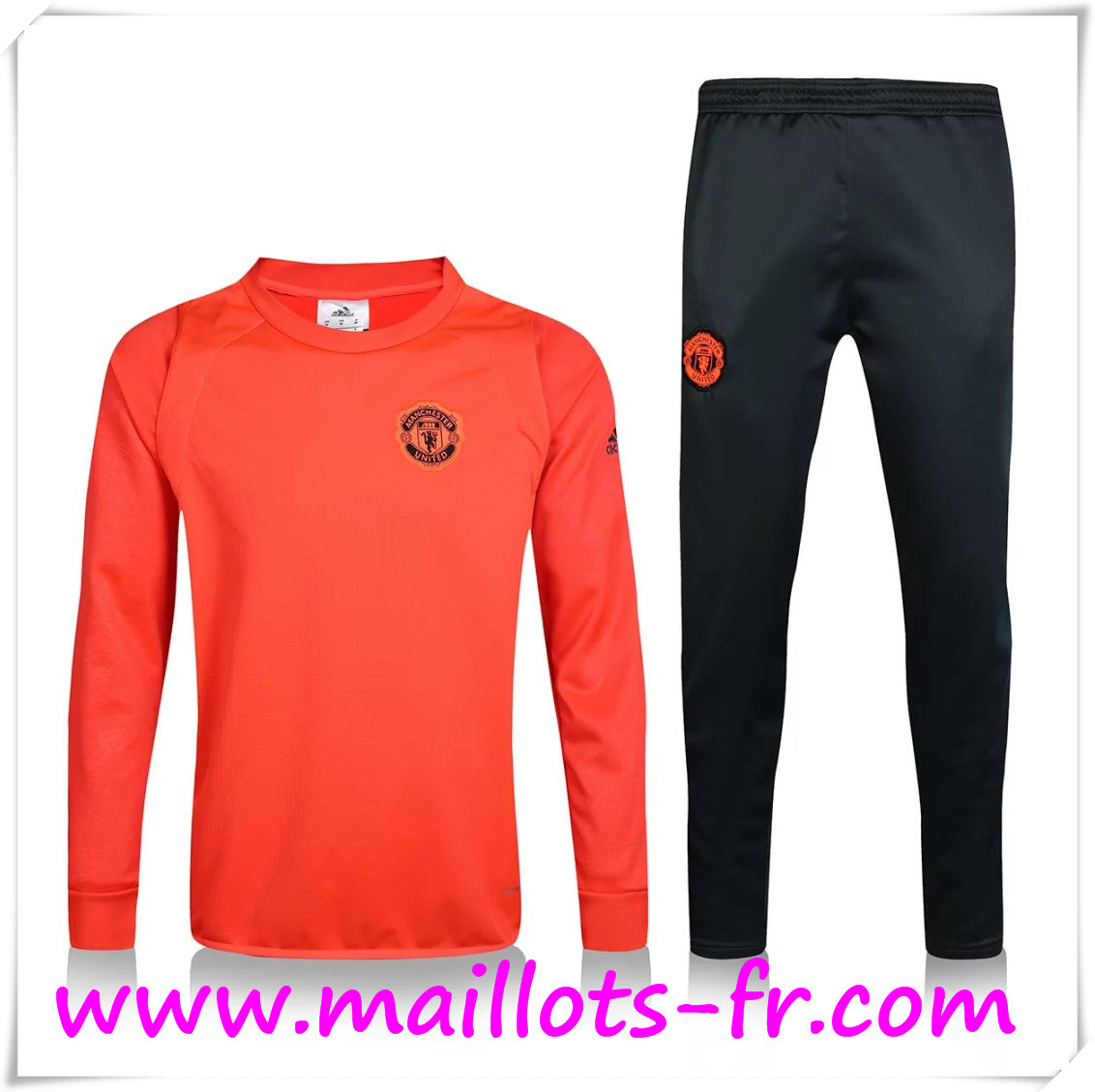 maillots-fr: Nouveau Champions Survetement de foot Manchester United Ajouter du velours Orange 2016 2017 Ensemble