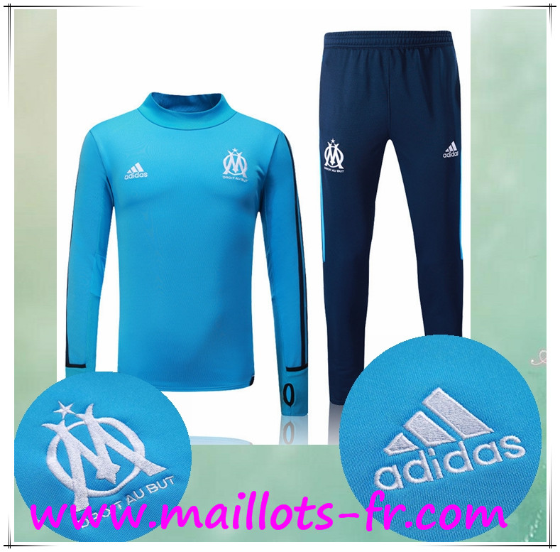 maillots-fr Survetement de Foot Marseille OM Bleu Ensemble 2017 2018