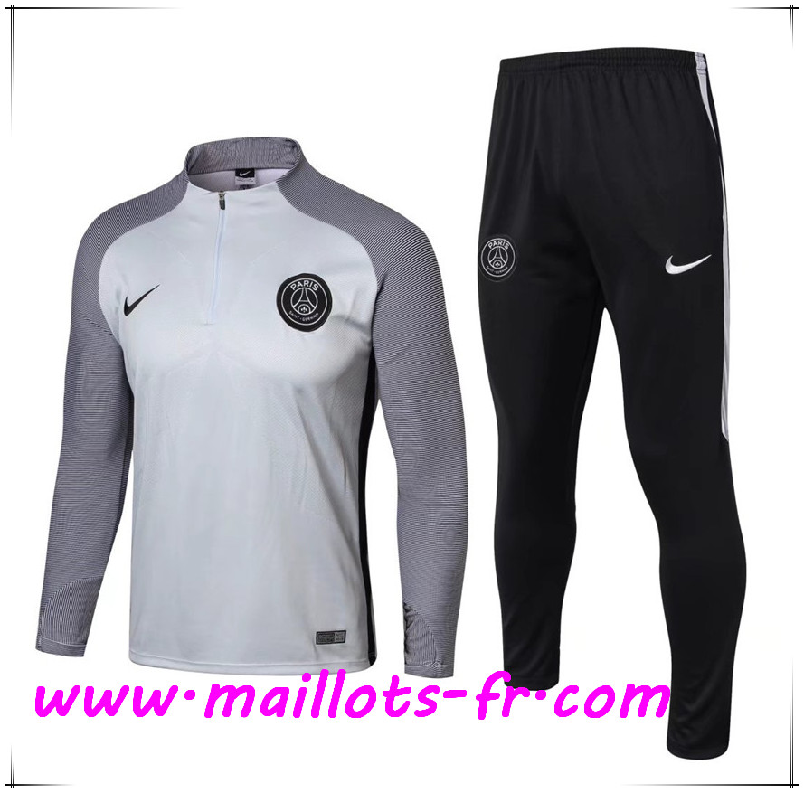 Maillots-fr Thailande Survetement de Foot PSG Gris Strike Drill 2017/2018 Ensemble