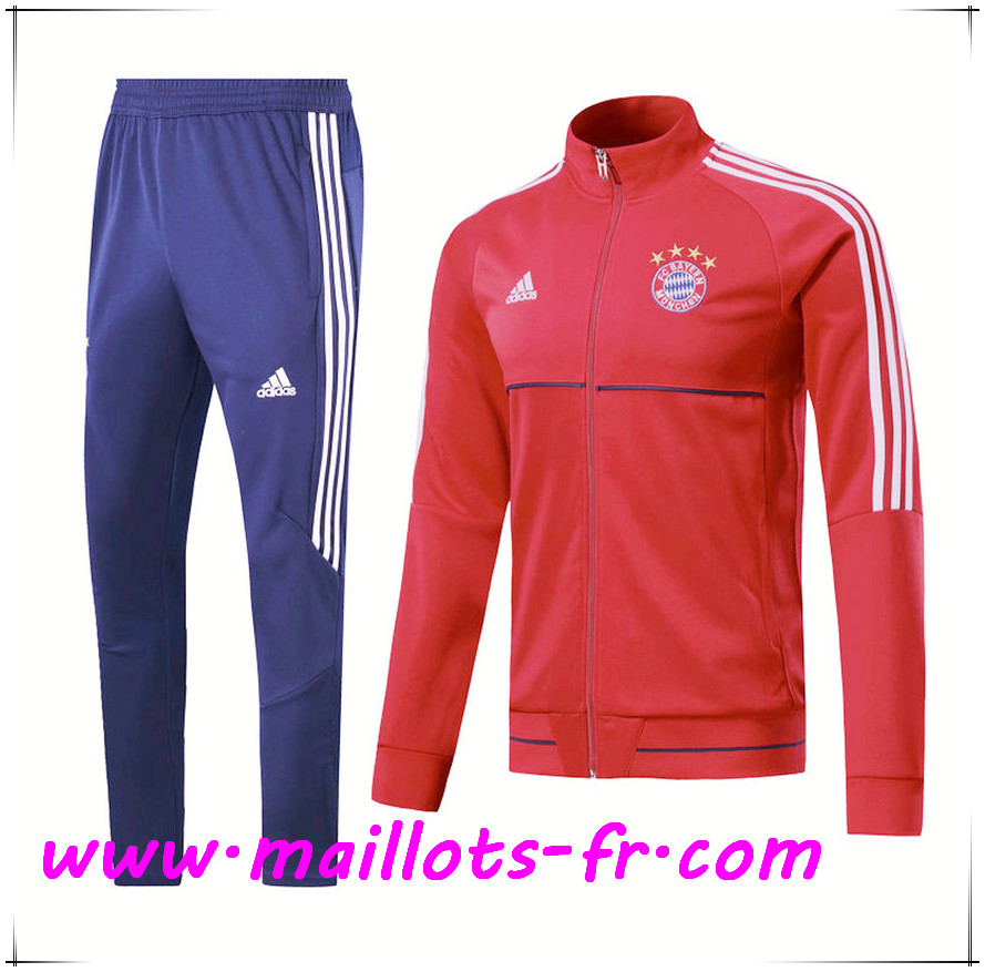 Maillots-fr Thailande Survetement de Foot - Veste Bayern Munich Rouge/Blanc Ensemble 2017/2018