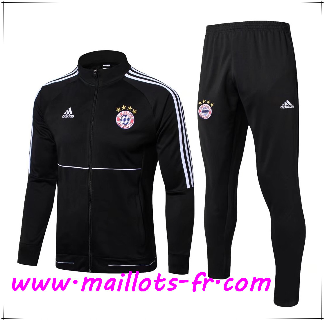 Maillots-fr Thailande Survetement de Foot - Veste Bayern Munich Noir Ensemble 2017/2018