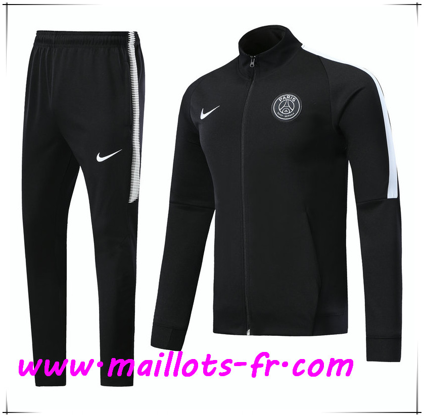 Maillots-fr Thailande Survetement de Foot - Veste PSG Noir Ensemble 2017/2018