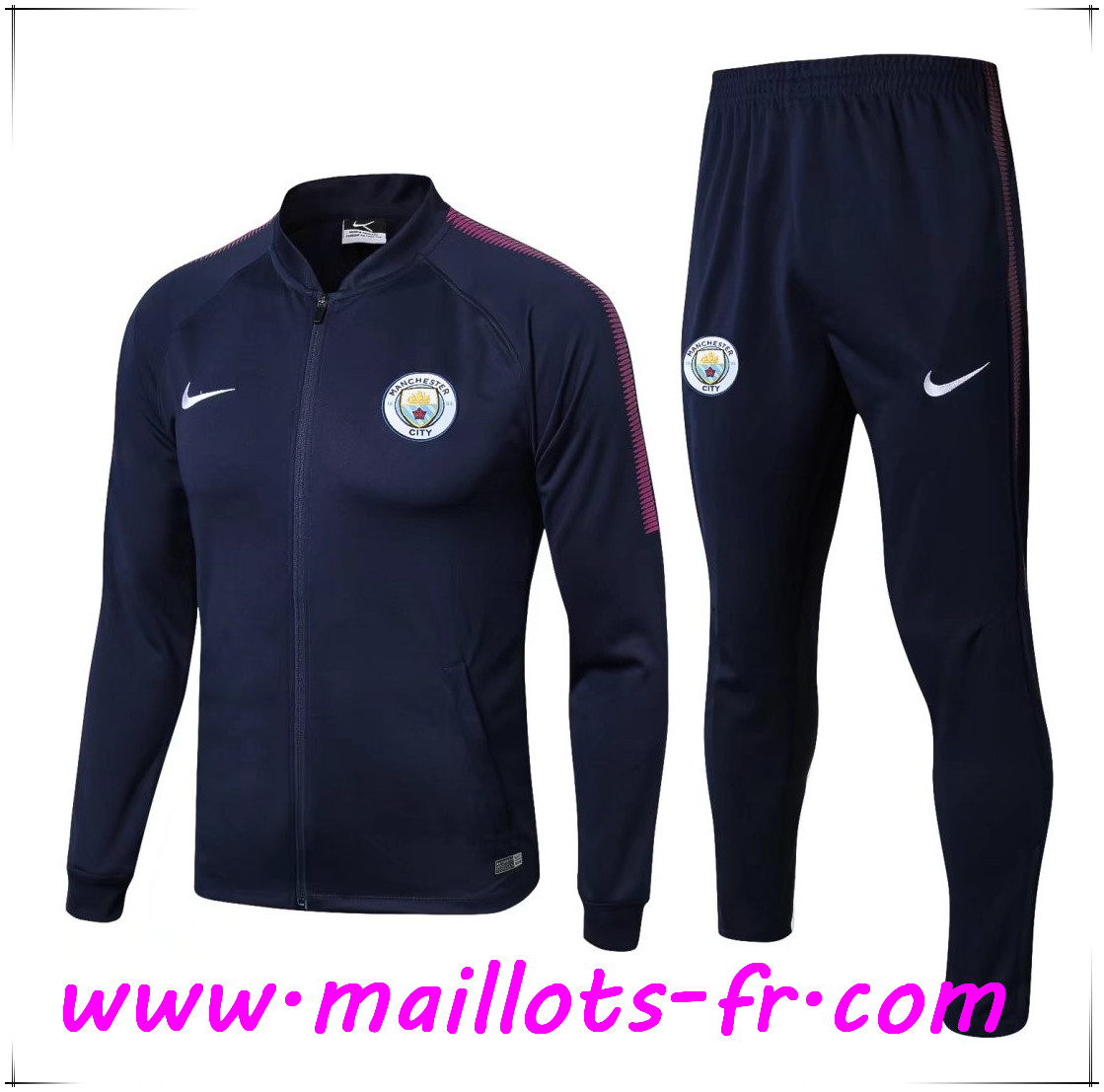 Maillots-fr Thailande Survetement de Foot - Veste Manchester City Bleu Marine Ensemble 2017/2018