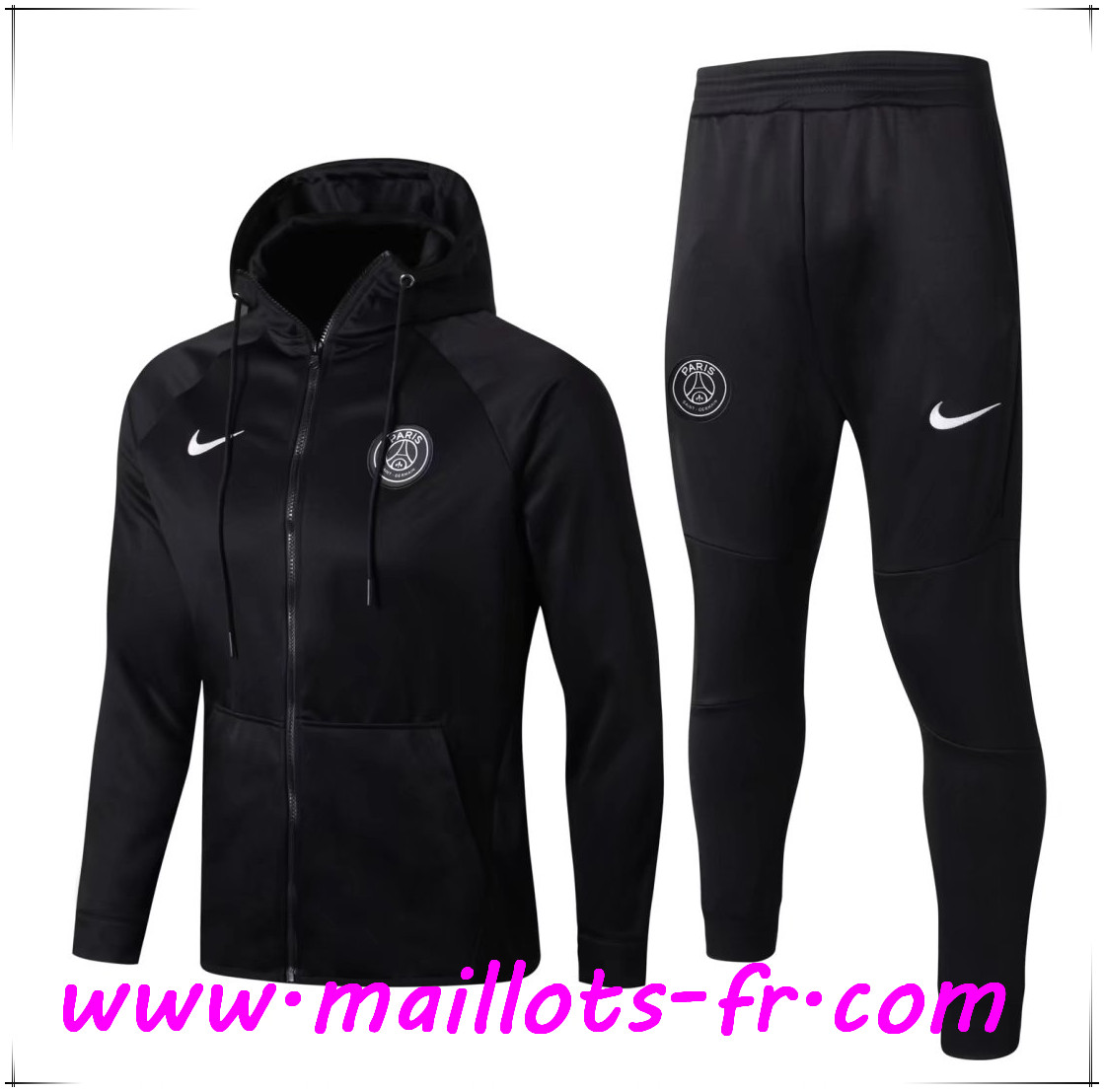 Maillots-fr Thailande Sweat a Capuche Survetement Foot PSG Noir 2017/2018 Ensemble