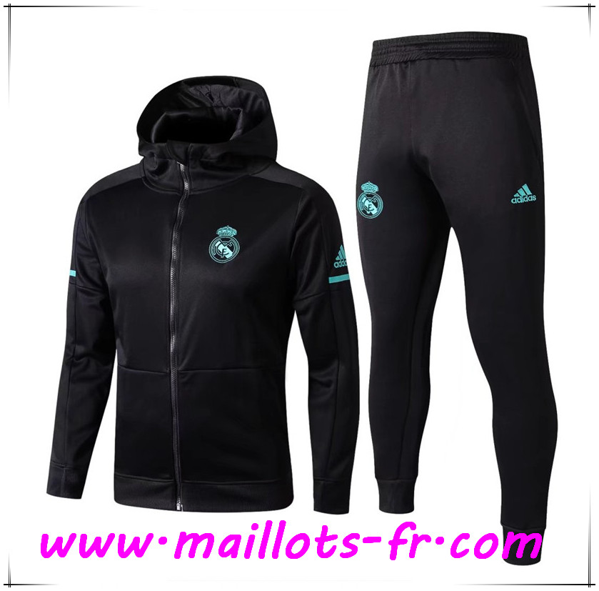 Maillots-fr Thailande Sweat a Capuche Survetement Foot Real Madrid Noir 2017/2018 Ensemble