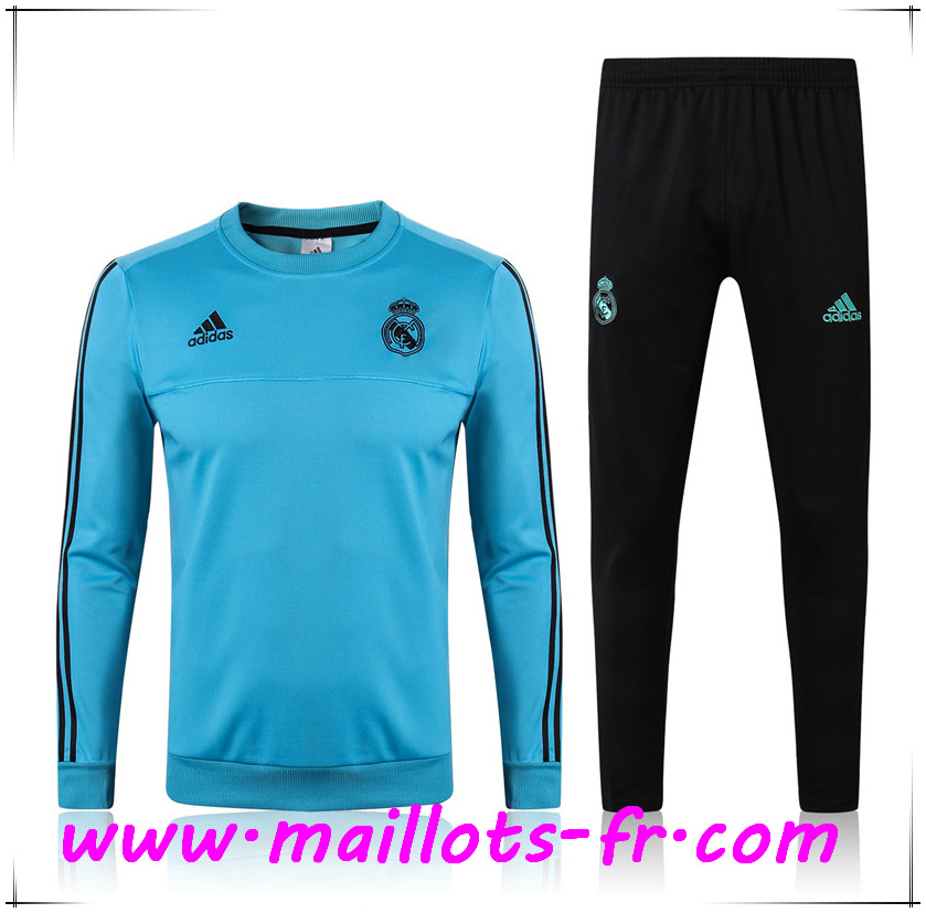 Maillots-fr Thailande Survetement de Foot Real Madrid Bleu Clair Ensemble 2017/2018