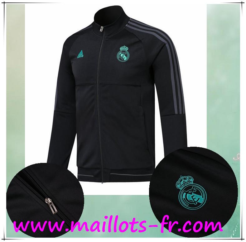 solde Survetement de Foot Veste Real Madrid Noir Ensemble