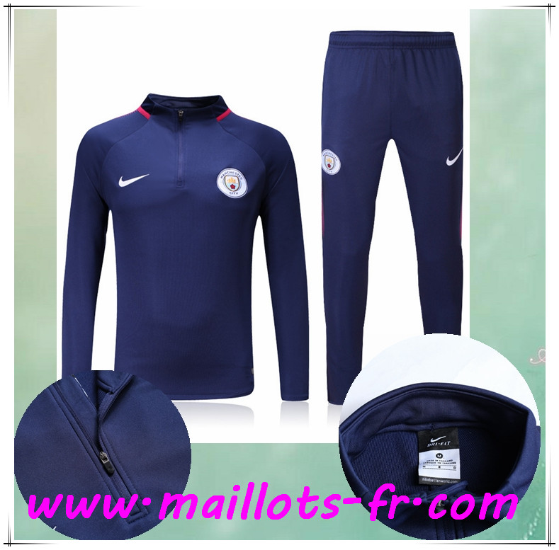 maillots-fr Survetement de Foot Manchester City Bleu Marine Ensemble 2017/2018