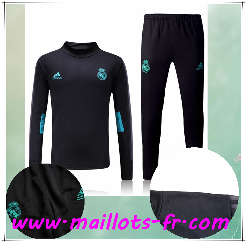 maillots-fr Survetement de Foot Real Madrid Noir Ensemble 2017/2018