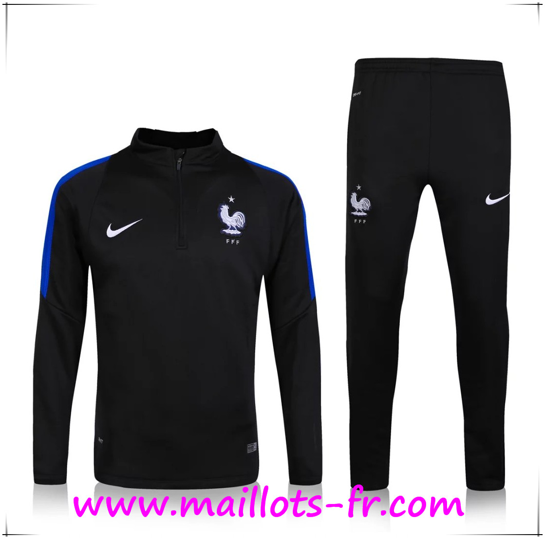 maillots-fr Survetement France Enfant Noir 2016 2017
