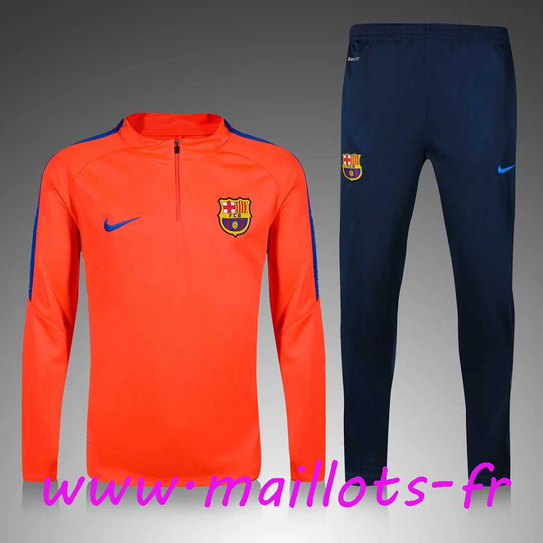 maillots-fr - Survetement de foot Enfant FC Barcelone Orange 2016 2017