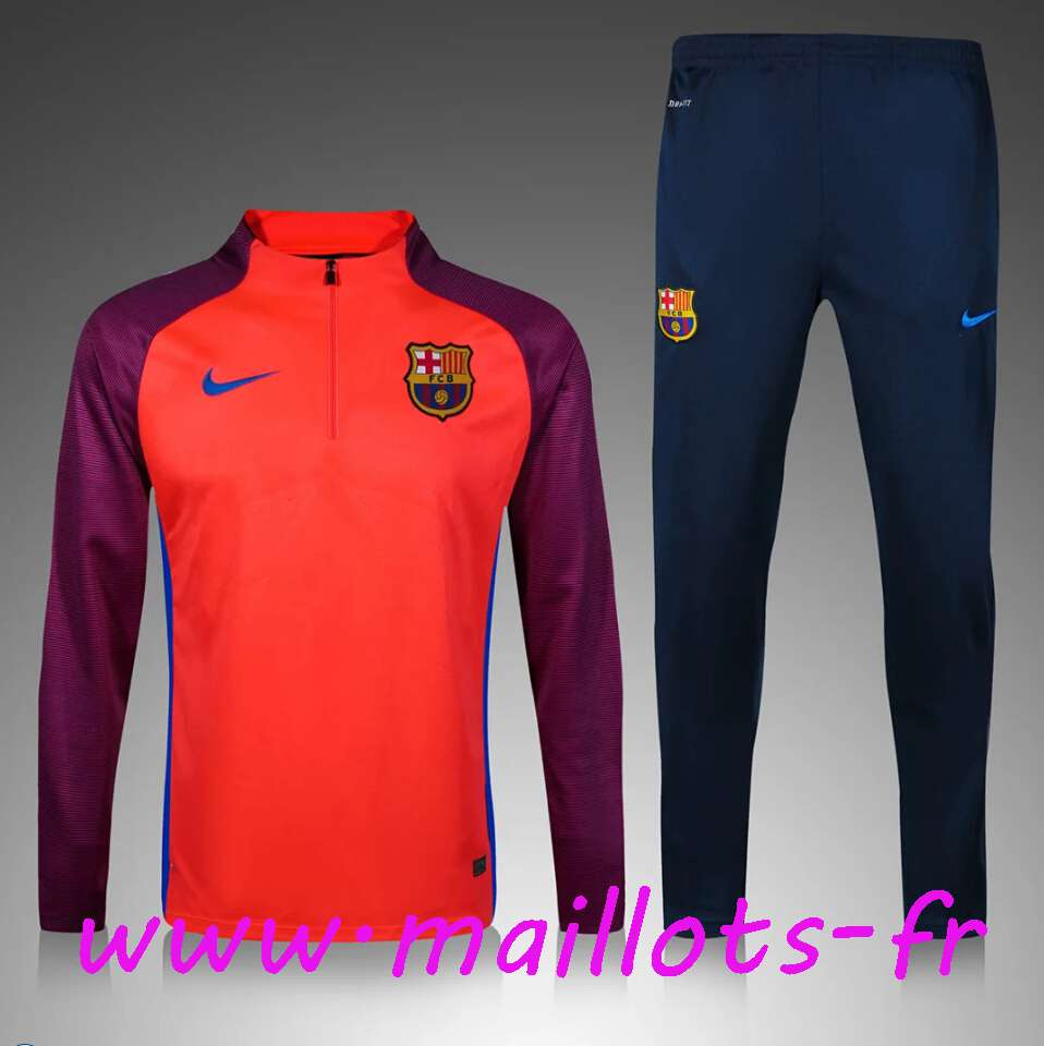 maillots-fr - Survetement de foot Enfant FC Barcelone Pourpre/Orange 2016 2017