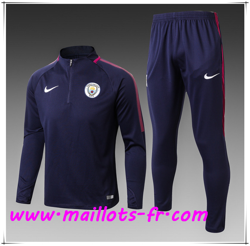 Maillots-fr Thailande Ensemble Survetement Foot Manchester City Enfant Bleu Marine 2017/2018